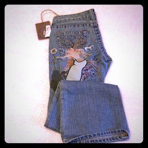 True Religion Jeans - True Religion Bobby Godiva embroidered flare jeans